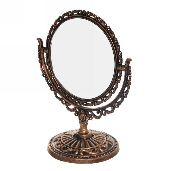 Зеркало настольное в пластиковой оправе ″Версаль Винтаж - Овал″ цвет коричневый, двухстороннее 18см купить оптом и в розницу