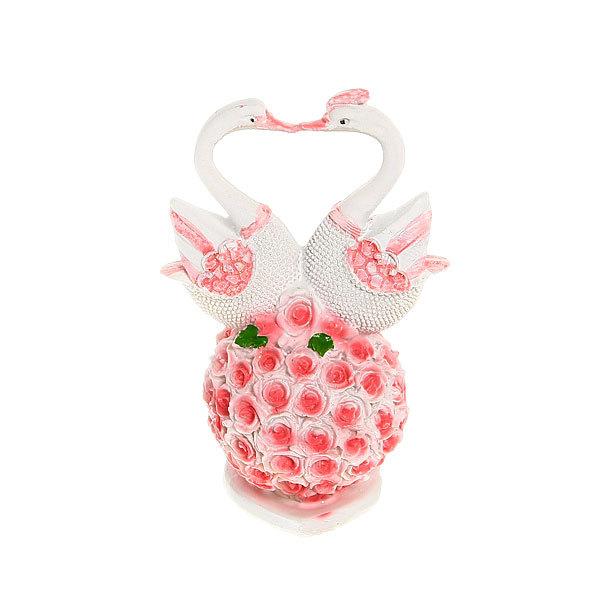 Фигурка из полистоуна ″Жемчужные Лебеди″ на цветочном шаре 11*7см купить оптом и в розницу