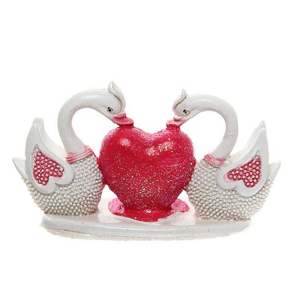 Фигурка из полистоуна ″Жемчужные Лебеди″ с сердцем 4,5*8см (цена за 1шт) DY1355-2 купить оптом и в розницу