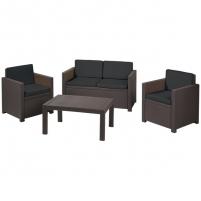 Набор мебели Victoria set  (2 стула,2-х мест.диван,стол) корич./песоч. с подушками купить оптом и в розницу