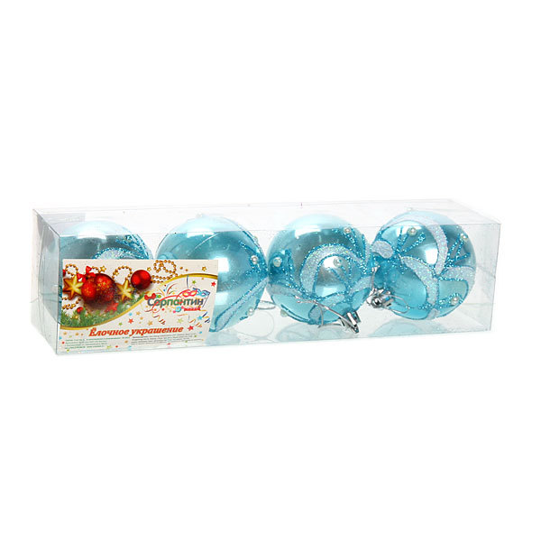 Новогодние шары ″Снежные веточки″ 7см (набор 4шт.) купить оптом и в розницу