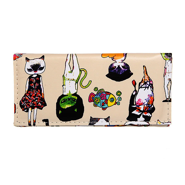 Кошелек женский ″Модные кошечки″ цвет молочный, 4 отделения 18*9 купить оптом и в розницу