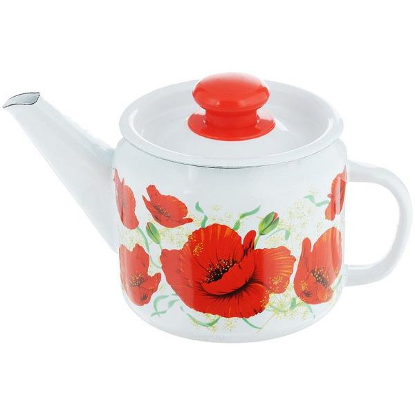 Чайник заварочный эмалированный 1л ″Алые маки″ купить оптом и в розницу