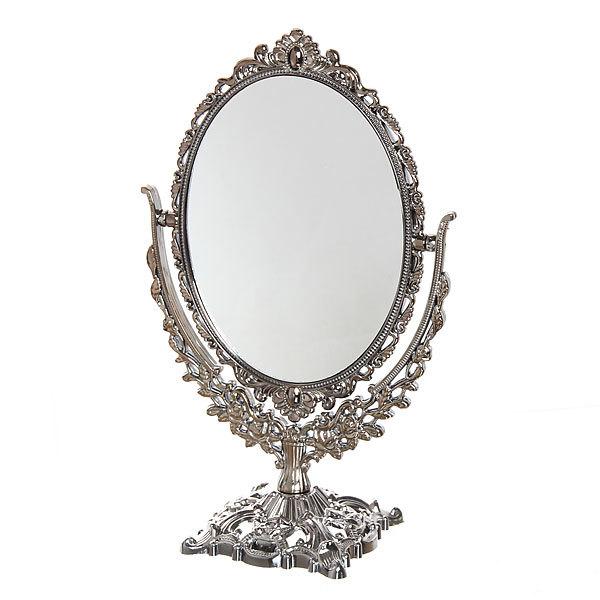 Зеркало настольное в пластиковой оправе ″Версаль - Овал″ цвет антрацит, двухстороннее с увеличением 20см купить оптом и в розницу