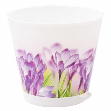 Горшок для цветов Крит D 120 mm с системой прикорневого полива 0,7л белый/Ирис *16 купить оптом и в розницу