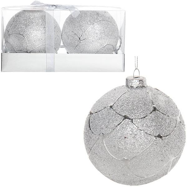 Новогодние шары ″Снежная гора″ 8см (набор 2шт.) купить оптом и в розницу