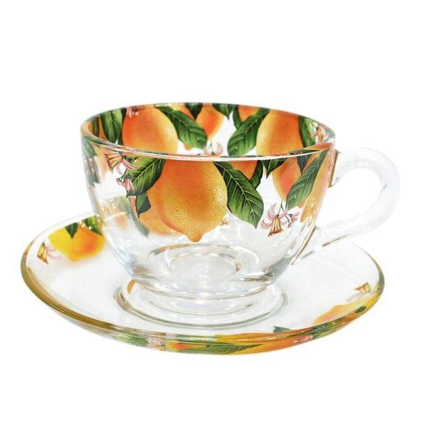 Набор чайный 12пр 215мл Бейзик ЛИМОН круговая деколь (1/4) купить оптом и в розницу