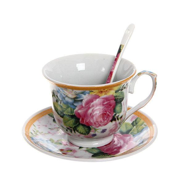Чайный набор 4 предмета (2 кружки, 2 блюдца+ложка) на металлической подставке 1 купить оптом и в розницу