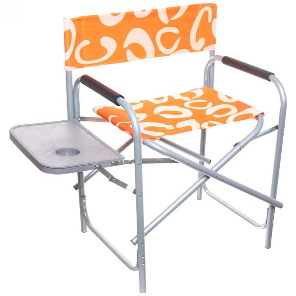 Кресло (стул) туристическое складное с подлокотниками и столиком, 58*47*78см до 120кг,оранжевый узор купить оптом и в розницу
