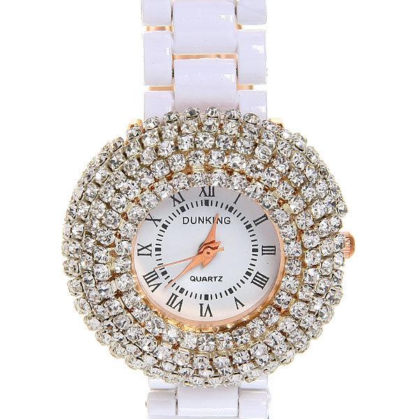 Часы наручные под керамику, цвет белый, оконтовка крупная стразы, белый циферблат купить оптом и в розницу