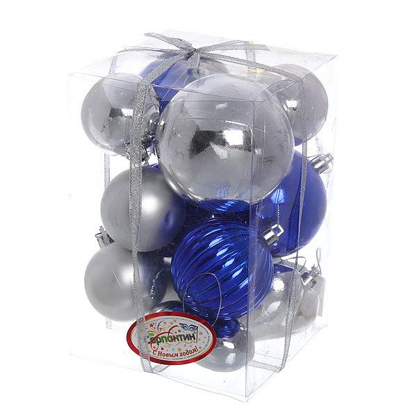 Новогодние шары (14шт) серебро/синий LR2011-188 купить оптом и в розницу