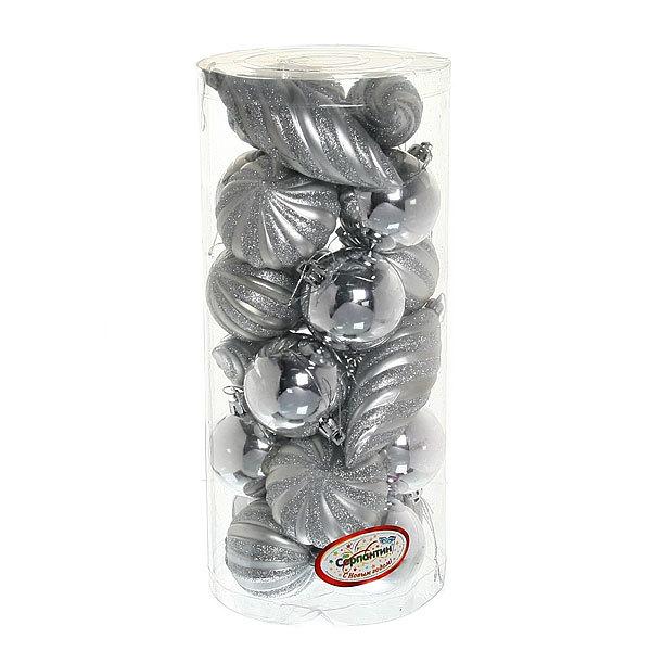 Ёлочная игрушка набор (23шт) ″Микс″серебро туба LR2014-3 купить оптом и в розницу