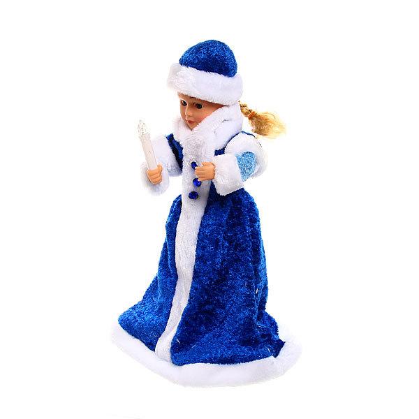 Снегурочка музыкальная 40см на батарейках со свечкой в синей шубе купить оптом и в розницу