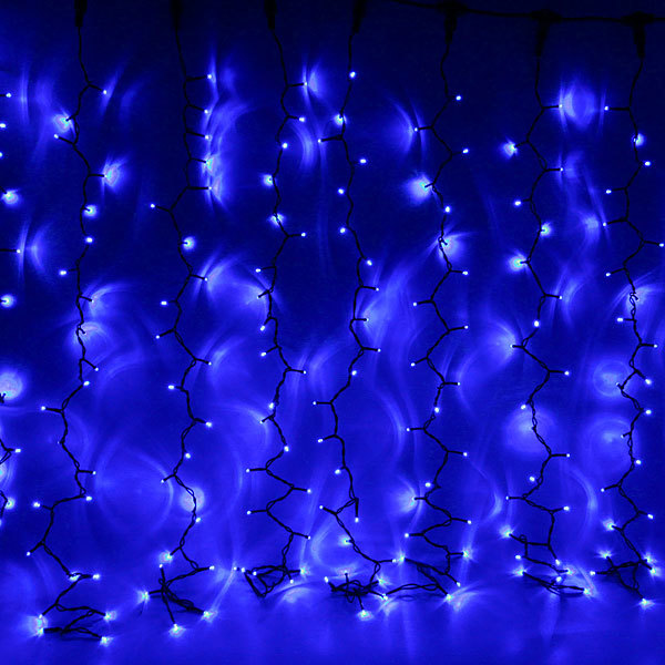Занавес светодиодный 2*1,5м 320 ламп LED, прозрач.пров, Синий купить оптом и в розницу