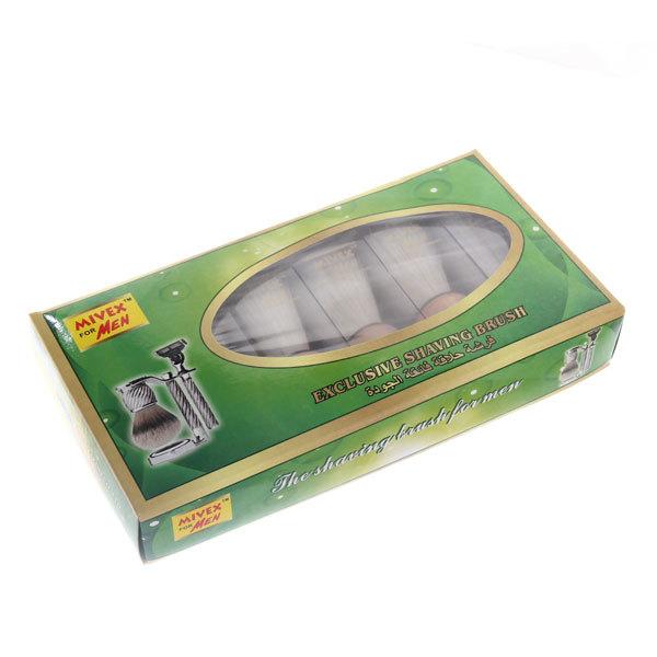 Помазок для бритья в пластиковой коробке, белый ворс, цвет ручки светлое дерево, 8см купить оптом и в розницу