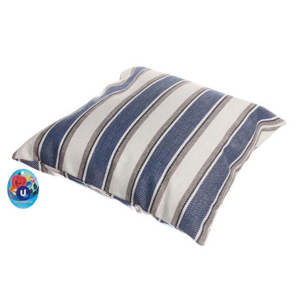Подушка декоративная 44*44см ″Домашний уют″ полоски широкие синие купить оптом и в розницу