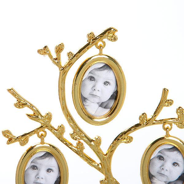 Фоторамка из металла ″Семейное Древо″ 5 фото золото 25*14см 9677 купить оптом и в розницу