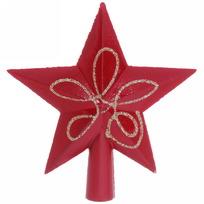 Звезда на ёлку красная 15см ″Узор″. купить оптом и в розницу