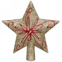 Звезда на ёлку золото 15см ″Красный цветок″ купить оптом и в розницу