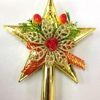 Звезда на ёлку золото 15см ″Бант с цветком″ купить оптом и в розницу