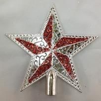 Звезда на ёлку серебро 23см ″Ажур″ купить оптом и в розницу