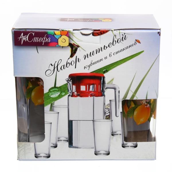 Набор питьевой 7 предметов: Кувшин 1,23л, 6 стаканов 200мл ″Лимон″ купить оптом и в розницу