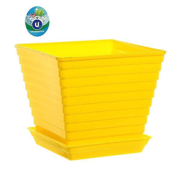 Кашпо для цветов садовое пластик ″Радуга″ цвет желтый 17х15см купить оптом и в розницу
