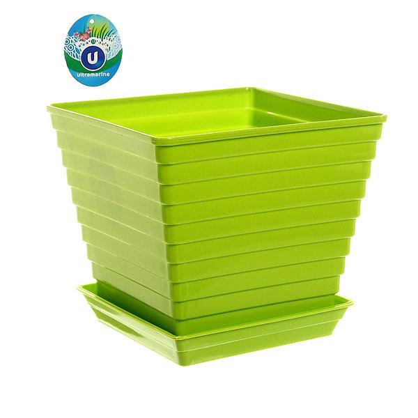 Кашпо для цветов садовое пластик ″Радуга″ цвет зеленый 17х15см купить оптом и в розницу