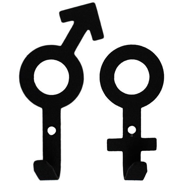 Крючок универсальный, серия ″Зодиак″, модель ″Мужской+женский символы - 1″, цвет черный купить оптом и в розницу
