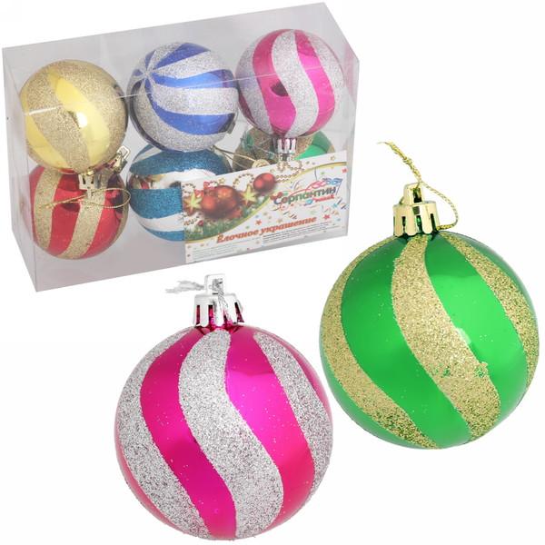 Новогодние шары ″Ветер″ 6см (набор 6шт.) купить оптом и в розницу