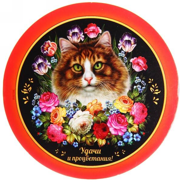 Подставка под кружку ″Удачи и процветания!″, Жостовская кошка, 9 см купить оптом и в розницу