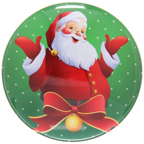 Банка жестяная 12,5*5см ″Дед мороз с бантиком″ купить оптом и в розницу