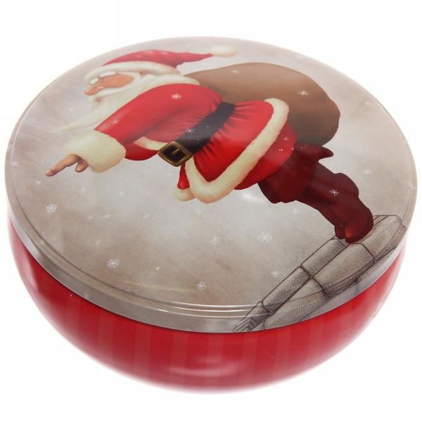 Банка жестяная 12,5*5см ″Дед мороз с подарками″ купить оптом и в розницу