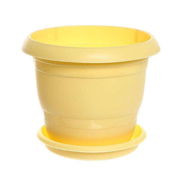 Горшок для цветов ТОПРАК 3л с поддоном желтое купить оптом и в розницу