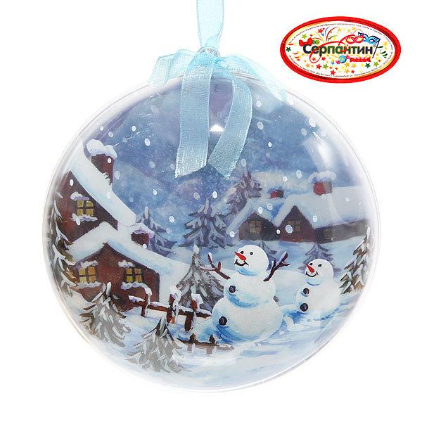 Новогодний шар ″Снеговички″ 12см купить оптом и в розницу
