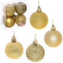 Новогодние шары 5 см (набор 4 шт) ″Микс фактур″, золотой купить оптом и в розницу