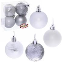 Новогодние шары 5 см (набор 4 шт) ″Микс фактур″, серебро купить оптом и в розницу