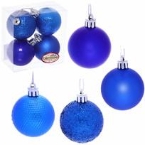 Новогодние шары 5 см (набор 4 шт) ″Микс фактур″, синий купить оптом и в розницу
