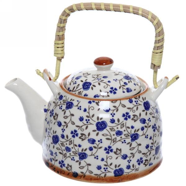 Чайник заварочный керамический 400 мл с ситом ″Цветы″ купить оптом и в розницу