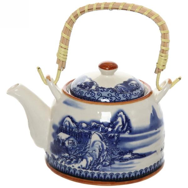 Чайник заварочный керамический 400 мл с ситом ″Зимняя деревня″ купить оптом и в розницу