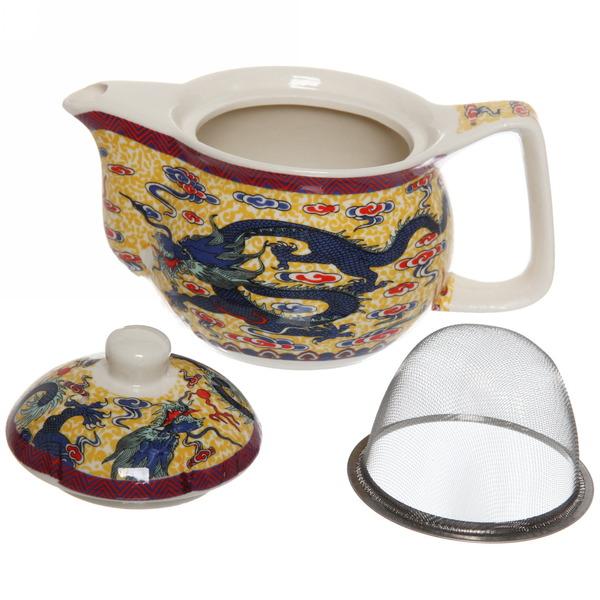 Чайник заварочный керамический 350 мл с ситом ″Дракон″ купить оптом и в розницу