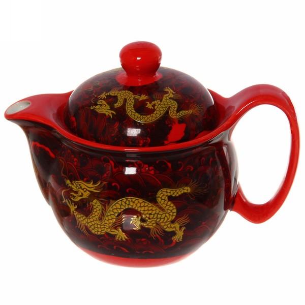 Чайник заварочный керамический 350 мл с ситом ″Красный дракон″ купить оптом и в розницу