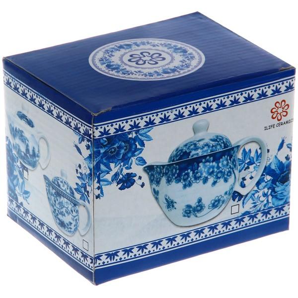 Чайник заварочный керамический 350 мл с ситом ″Синий дракон″ купить оптом и в розницу