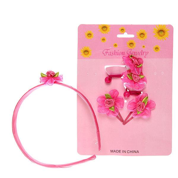Набор для волос детский 5шт ″Цветочки″, цвет розовый (резинки, зажимы и ободок) купить оптом и в розницу