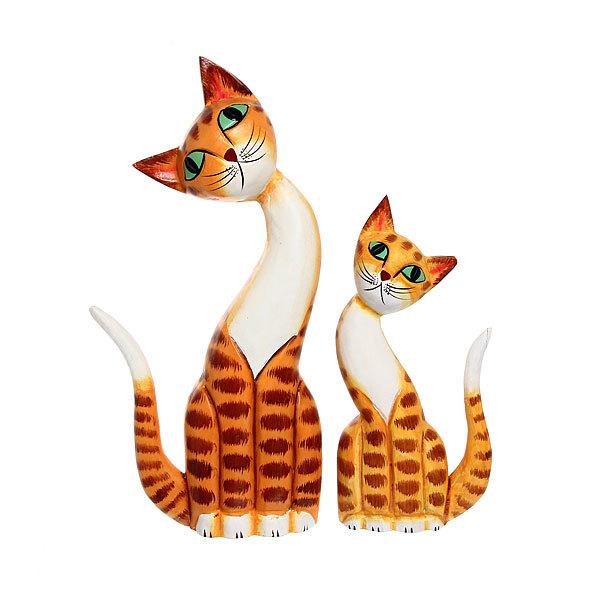 Фигурки из дерева ″Кошки 2 шт″, 30,20см купить оптом и в розницу