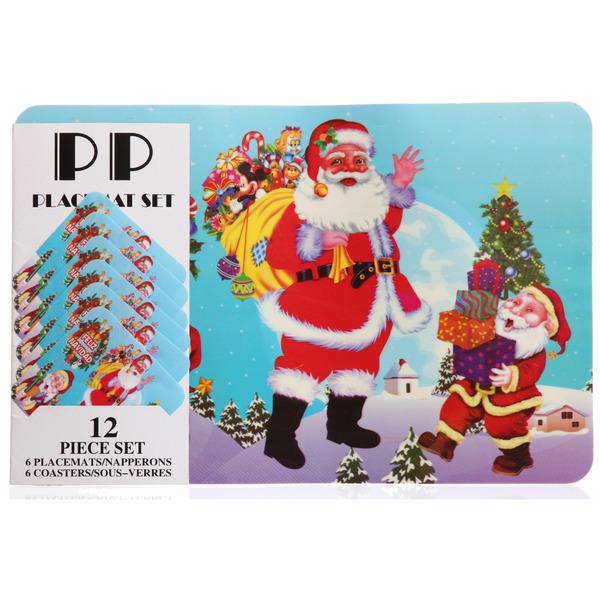 Салфетка на стол 42*27,5см ″Дед Мороз с подарками″ в наборе 6+6шт купить оптом и в розницу