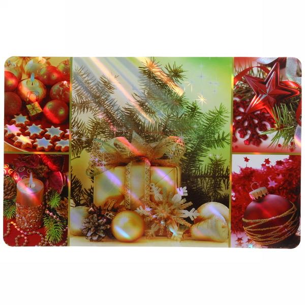 Салфетка на стол 42*27см ″Новогодние игрушки с подарками″ в наборе 6+6шт купить оптом и в розницу