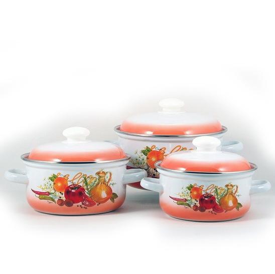 Набор посуды эмалированной 3 предмета ″Итальянская кухня″ (1.5л, 2л, 3л ) купить оптом и в розницу