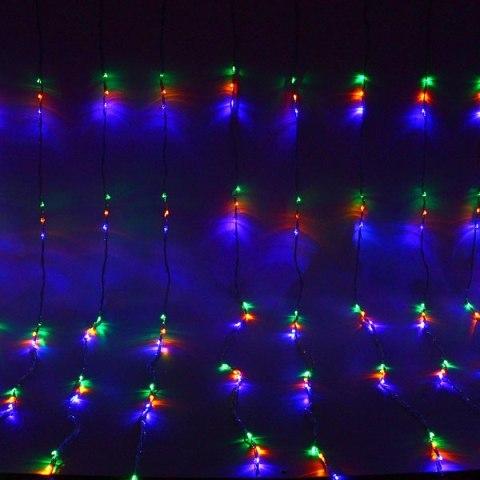 Занавес светодиодный ш 2 * в 2,5м, 672 лампы LED, ″Водопад″, Мультицвет, 8 реж, прозр.пров. купить оптом и в розницу