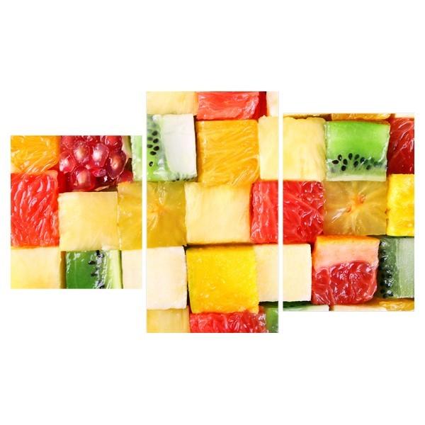 Картина модульная триптих 55*96 см, кубики из фруктов купить оптом и в розницу